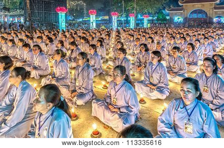 The beauty of the Buddhist holy meditation as planned ceremony