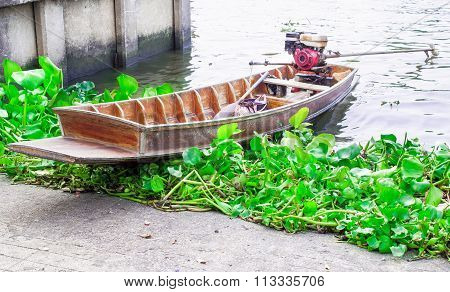 Thai boat and water hyacinth in the chao phraya river