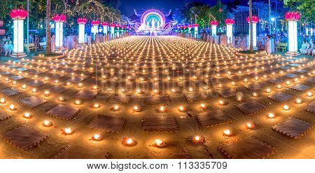 Panoramic beauty of the candles in the night