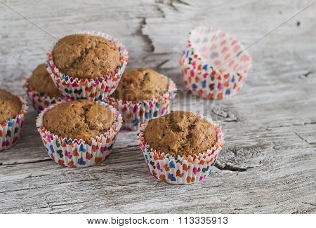 Oatmeal And Banana Vegan Muffins On Rustic Light Wooden Board. Healthy Food
