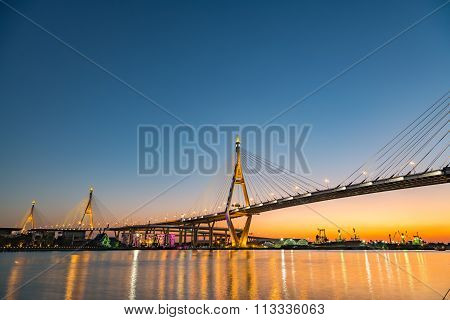 Bhumibol Bridge At Dusk
