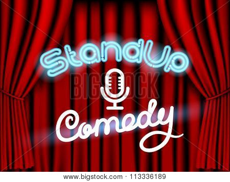 stand up comedy neon lettering live stage with red curtain