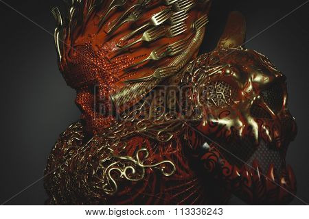 gothic bright red skull handmade fantasy warrior costume with gold and forms