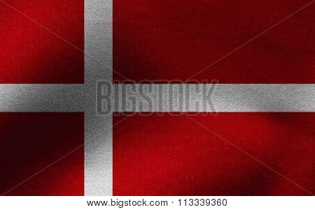 Closeup of ruffled Denmark flag