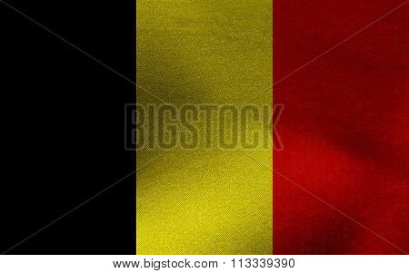 Closeup of ruffled Belgium flag