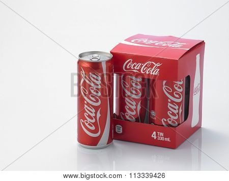 Kuala Lumpur Malaysia December 28, 2015,new slim and tall design of cocacola can