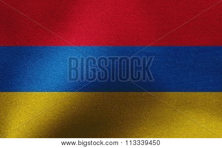 Closeup of ruffled Armenia flag