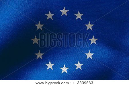 Closeup of ruffled European Union (EU) flag