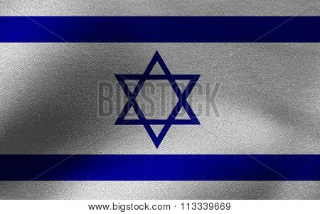Closeup of ruffled Israel flag