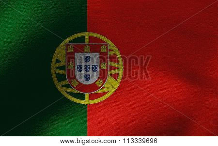 Closeup of ruffled Portugal flag
