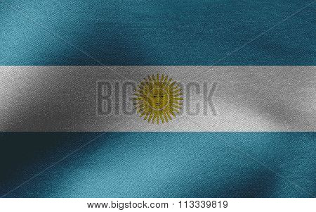 Closeup of ruffled Argentina flag