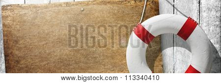 Placard Plank Coast Banner Lifebuoy Sign Tranquil Concept