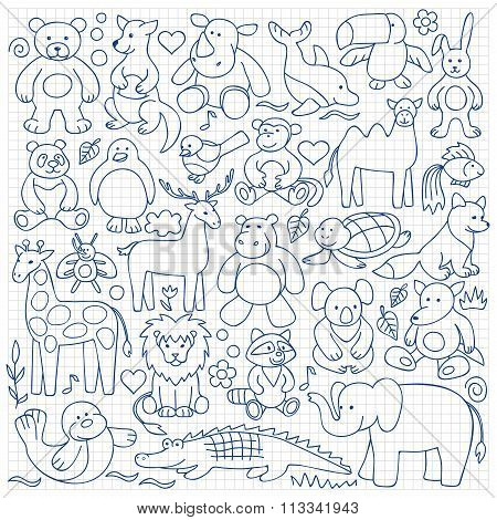 Children  animal  toys set on squared background