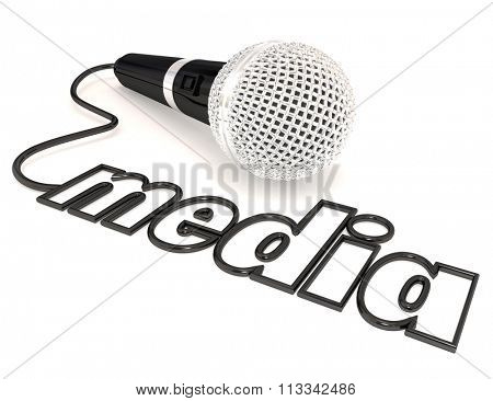Media word on a microphone cord to illustrate reporting, information sharing, journalism and communication