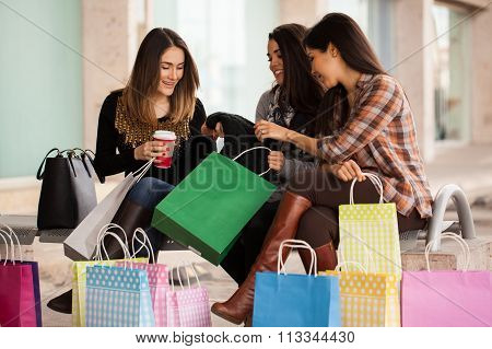 Female Friends After A Shopping Spree