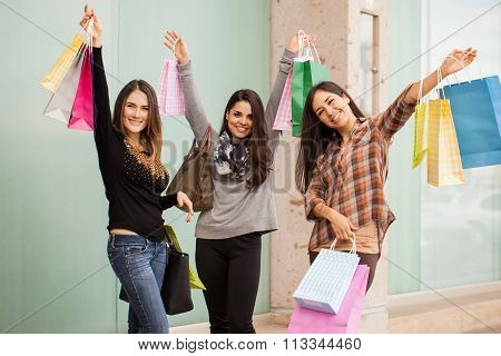 Excited Women On A Shopping Spree