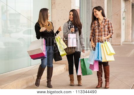 Rich Young Women Shopping At A Mall