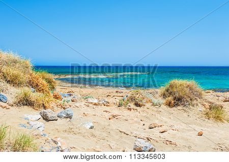 Beautiful Wild Beach With Turquoise Water And White Sand