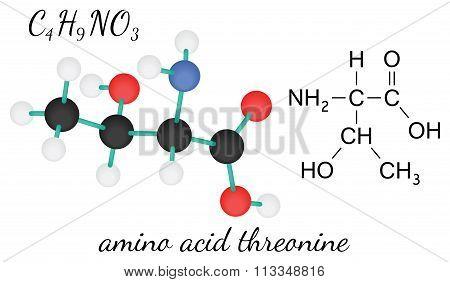 C4H9NO3 threonine amino acid molecule