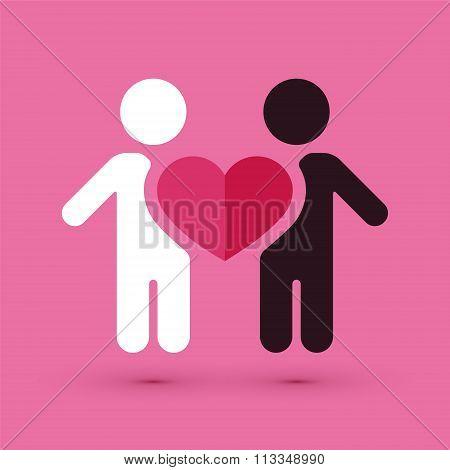 Interracial Couple Love Heart