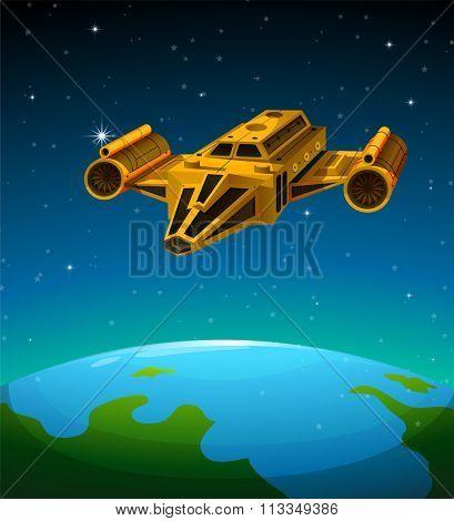 Rocket ship flying over the earth illustration