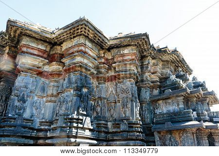 Artistic outer walls at Chennakesava temple at Belur captured on December 30th, 2015