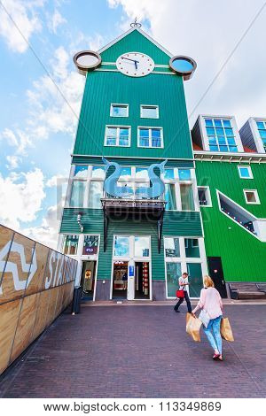 ZAANDAM, NETHERLANDS - SEPTEMBER 02, 2015: unique station tower in Zaandam. Together with the near Inntel Hotel it is an architectural ensemble, designed by WAM architects.