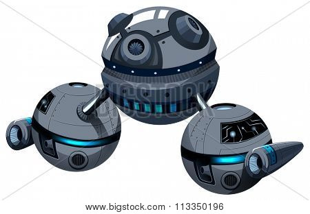 Round spaceship on white illustration