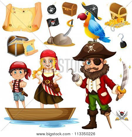 Pirate and crew on ship illustration