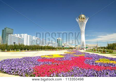 Water Green Boulevard In Astana. Symbol Of Kazakhstan