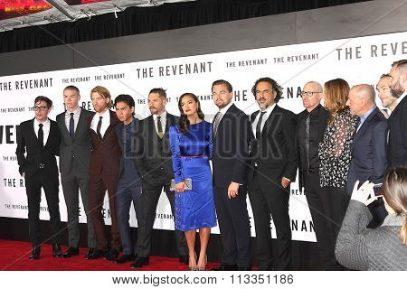 LOS ANGELES - DEC 16:  Revenant Cast, Leonardo DiCaprio, Tom Hardy at the