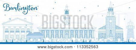 Outline Burlington (Vermont) City Skyline with Blue Buildings. Vector Illustration. Business and tourism concept with historic buildings. Image for presentation, banner, placard or web site