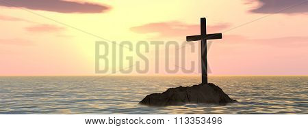 Conceptual Christian cross on a little rock island in the ocean or sea with waves and the sky at sunset banner