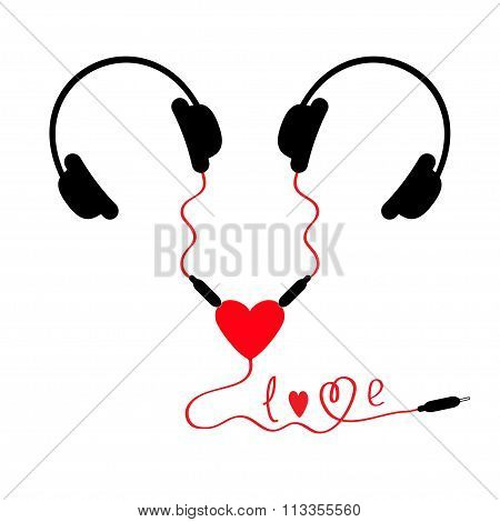 Two Headphones. Earphones Couple Audio Splitter Adapter Heart. Red Cord In Shape Of Word Love. White