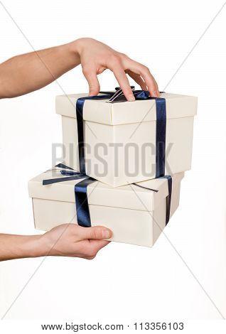 Two White Gift Boxes