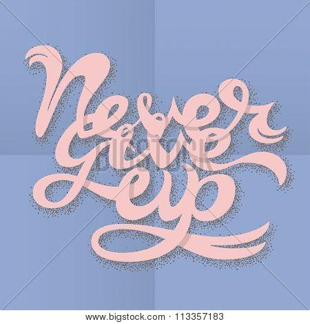 Never Give Up lettering illustration