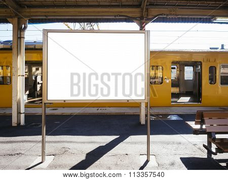 Blank Board Template At Train Station With Public Transportation Background