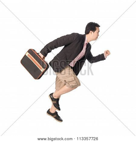 Asian Businessman Running With A Briefcase In Hand, Isolated On White Background