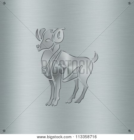 Horoscope Zodiac Sign Aries In Metal Plate