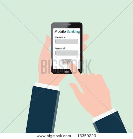 Human Hands Using Mobile Banking On Smartphone.
