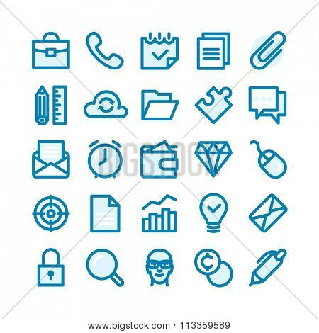 Business Fat Line Icon set for web and mobile. Modern minimalistic flat design elements of office supplies, business conceptions, work tools