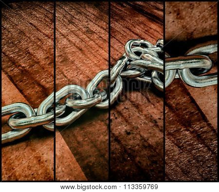 Realistic 3D Model Of A Metal Chain On The Wooden Floor. 3D Rendering