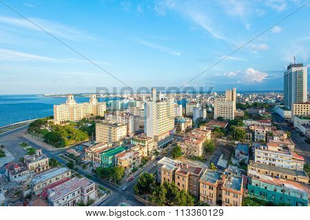 Aerial view of the city of Havana including the Vedado neighborhood and several tourist attractions