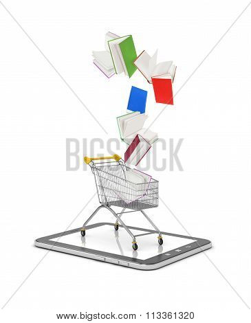 Book Falls Into Shopping Cart Isolated On White