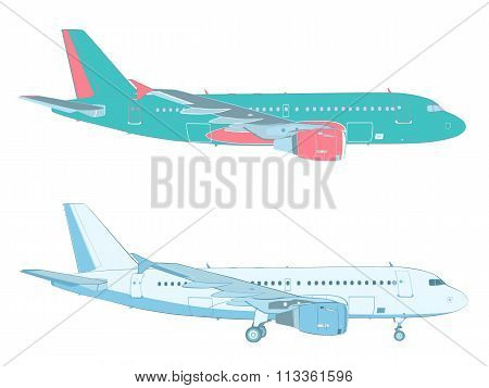 Vector Drawing Of An Airliner On White Background With And Without The Landing Gear