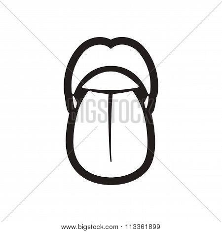 stylish black and white icon human tongue