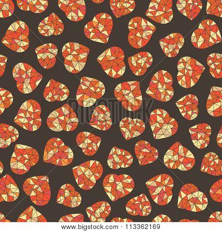 Seamless pattern. Valentine's Day. Orange hearts.