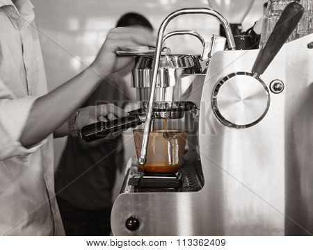 Barista Brewing Coffee Espresso Shot Bar Restaurant