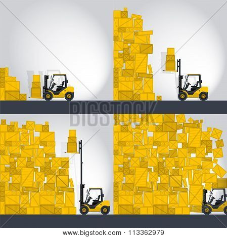 Yellow fork lift loader works in store - comics strip