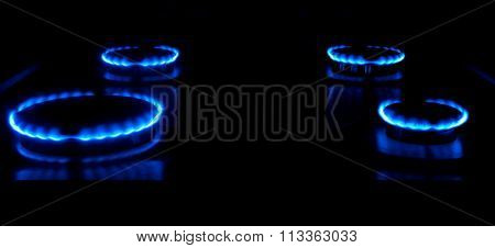 Gas burning from a kitchen gas stove